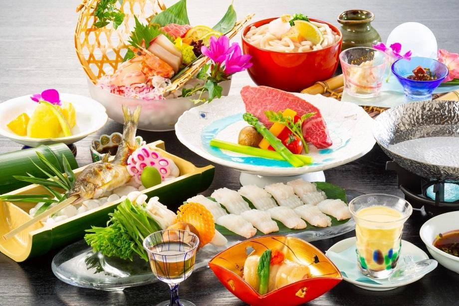 琴参閣 讃岐オリーブ牛の洋風ステーキと鱧のちり鍋